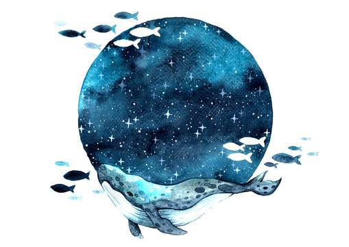 Whale swimming on the night sky among the star watercolor hand painting background.