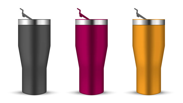 Tumbler cup with open push-in lid, realistic vector mockup. Water bottle, color mock-up set. Travel thermo mugs isolated on white background, template