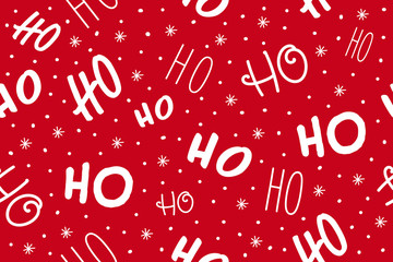 Wall Mural - Ho ho ho pattern, Santa Claus laugh. Seamless texture pattern red background.