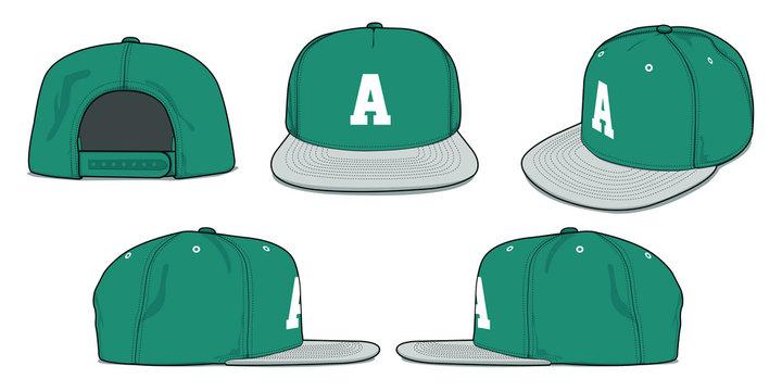 Set of vector template cap mockup