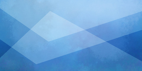 Wall Mural - blue background with white layers of textured transparent triangle shapes in geometric design