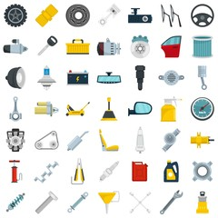Car parts icon set. Flat set of car parts vector icons for web design