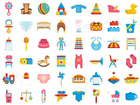 Baby items icon set. Flat set of baby items vector icons for web design