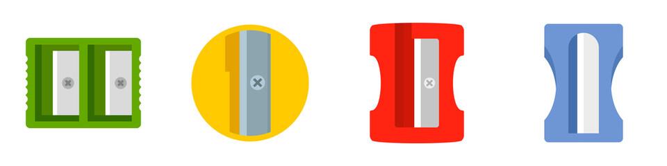 Sharpener icon set. Flat set of sharpener vector icons for web design