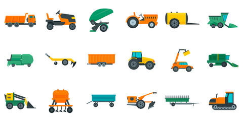 Agricultural machines icons set. Flat set of agricultural machines vector icons for web design Fotomurales