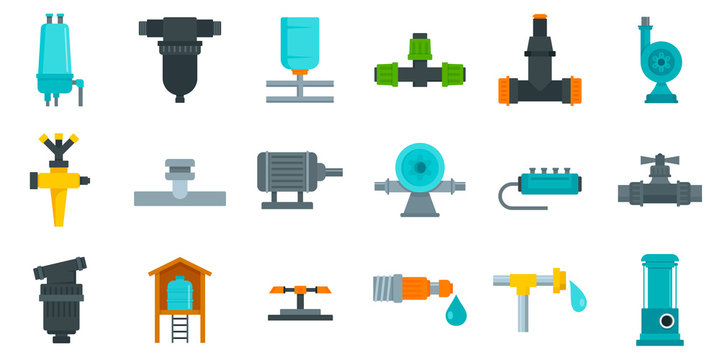 Irrigation system icon set. Flat set of irrigation system vector icons for web design