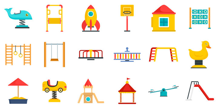Kid playground icon set. Flat set of kid playground vector icons for web design