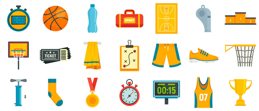 Basketball equipment icons set. Flat set of basketball equipment vector icons for web design