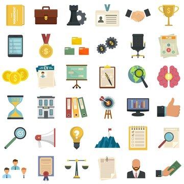 Corporate governance icons set. Flat set of corporate governance vector icons for web design