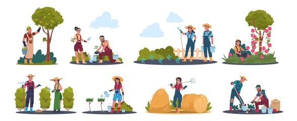 Agricultural work. Cartoon farmer characters working in field, harvesting crops and fruits. Vector image rustic family work scenes with flat set people and agriculture plants