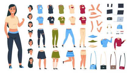 Cartoon character constructor. Woman animation set with body parts collection and different clothes and poses. Vector diy elements stylish fashionable modern girls