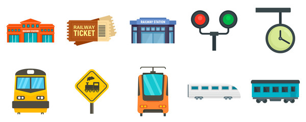 Railway station icons set. Flat set of railway station vector icons for web design Fotomurales