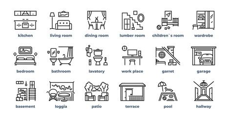 Home rooms line icons. Living room bedroom kitchen bathroom simple outline flat pictograms. Vector design home interior furniture set