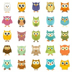 Poster Owls cartoon Owl icons set. Flat set of owl vector icons for web design
