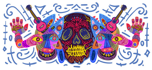 Dia De Muertos Festival Banner Illustration. Doodle Illustration Day of The Dead Mexican Tradition and Religion Festival.