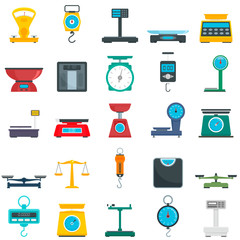 Weigh scales icons set. Flat set of weigh scales vector icons for web design