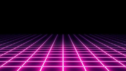 A 1980s vaporwave style neon grid (electrified field) with a dark horizon. Retro futuristic pseudo-3d illustration element.