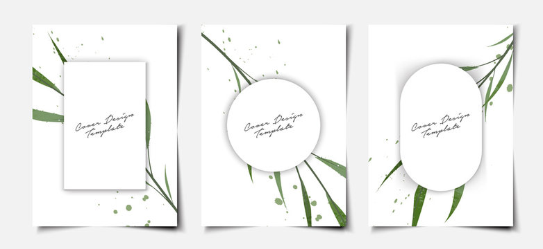Set of minimal white cover template layout with tropical foliage watercolor background