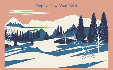 Foto op Plexiglas Zalm Winter landscape - snowy mountains, trees, pines, spruce - flat style - illustration, vector. Happy New Year 2020.