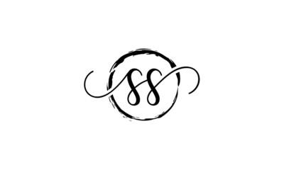 SS Initial handwriting logo vector, SS Initial handwriting logo design with a circle. Zen Circle Brush, handwritten logo for fashion, team, wedding, luxury logo. SS initial  logo