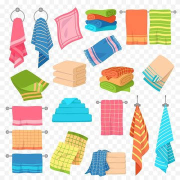 Cartoon towel. Kitchen, beach and bath hanging or stacked towels. Rolls for spa hygiene, textile objects colorful vector collection