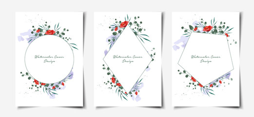 Set of geometric minimal watercolor floral cover template