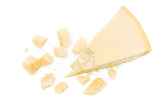 Parmesan cheese pieces isolated