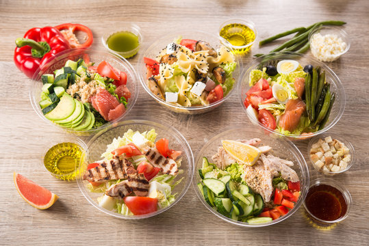 food plastic take away container with fresh salad