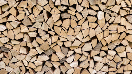 Foto op Aluminium Brandhout textuur Pila de madera, con bloques homogéneos en madera de pino