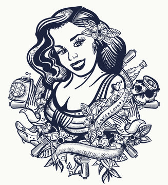 Sailor girl pin up style. Tatoo and t-shirt design. Sea woman, steering whell, anchor and flowers. Old tattooing art