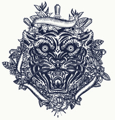 Tiger head. Aggressive wild cat. Tattoo and t-shirt design. Traditional tattooing, japan style
