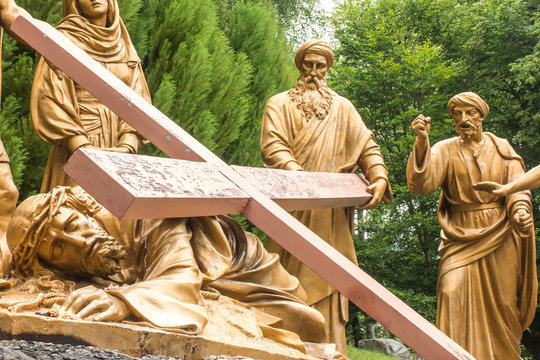 Lourdes, France, June 24 2019: Way of the Cross of Jesus, fragment of the ninth station