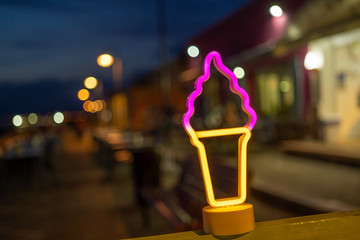 Neon sign for ice cream. Holiday and Summer time.
