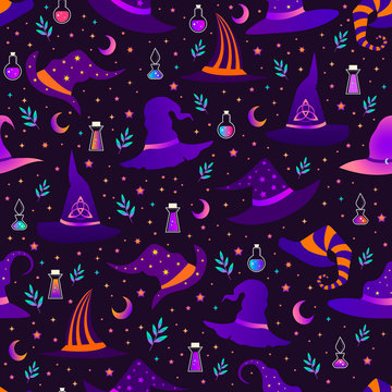 Magic witch hats, each with a unique pattern, magic potion bottles, stars and the moon, festive seamless pattern, bright gradient color.Vector holiday illustration for Happy Halloween.