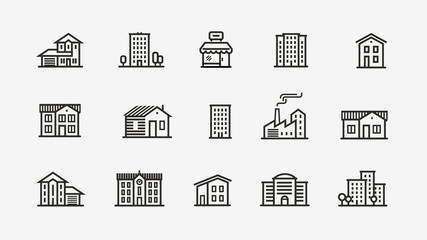 House icon set. Building, building symbol. Vector illustration Fotomurales