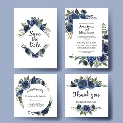 wedding invitation set of watercolor flower bouquet navy blue