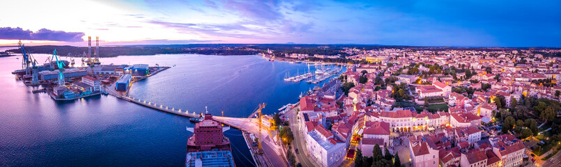 Aerial view of Pula in the evening, Croatia