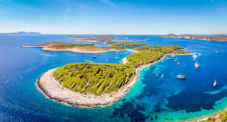 Aerial view of Paklinski Islands in Hvar, Croatia