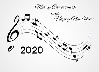 2020 Happy New Year and Merry Christmas on Abstract music Background. Vector Illustration