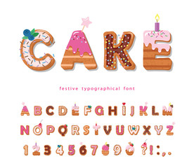 Cake cartoon font. Cute sweet letters and numbers for birthday card, baby shower, Valentines day, sweets shop, girls magazine, collages. Isolated.