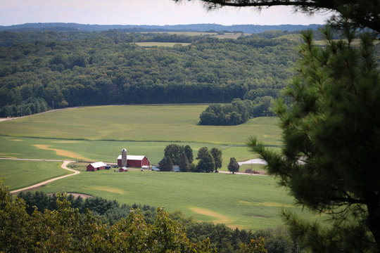 Overlooking a WI red barn in the countryside