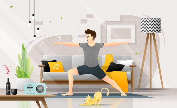Happy young man practicing yoga in living room, relaxing weekend at home ,vector , illustration
