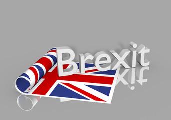 Austritt des vereinigten Königreichs aus der EU. Brexit Thema, 3d rendering mit Spiegelung im Boden.