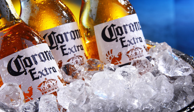 Bottles of Corona Extra beer in the bucket with crushed ice