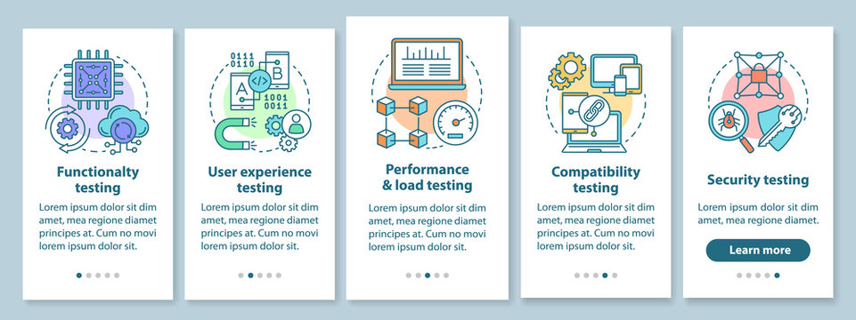 Software testing onboarding mobile app page screen with linear concepts. IT industry. Computer program development walkthrough steps graphic instruction. UX, UI, GUI vector template with illustrations
