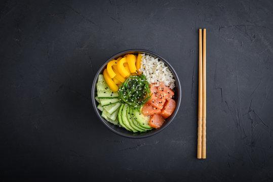 Hawaiian salmon poke bowl with seaweed