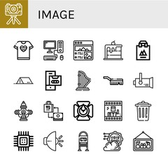 Set of image icons such as Camera, Tshirt, Computer, Picture, Rainbow, Shopping bag, Tent, Cassette, Harp, Brush, Spotlight, Hydrant, Candle holder, Photo, Trash, Cpu , image