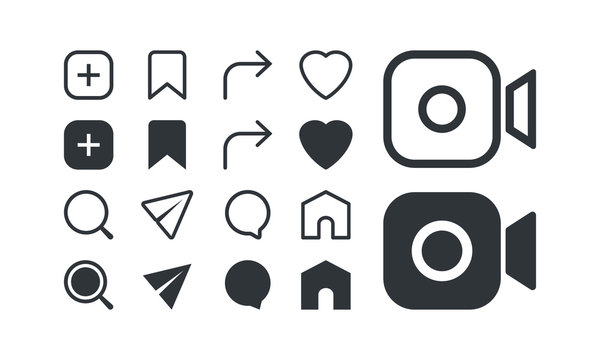 Social media icon set, elements, buttons web, app, ui. Vector illustration