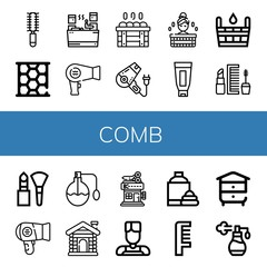 Set of comb icons such as Hair brush, Honeycomb, Sauna, Hair dryer, Shaving cream, Makeup, Perfume, Barbershop, Barber, Comb, Beehive , comb