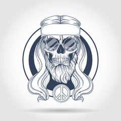 Hippie skull with hair
